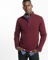 Express | Red Merino Wool Blend Button Mock Neck Sweater for Men | Lyst