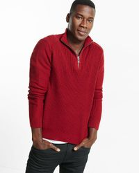 Express | Red Ribbed Zip Cotton Mock Neck Moto Sweater for Men | Lyst
