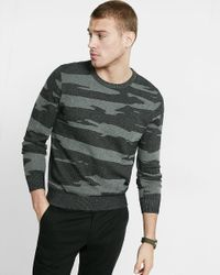 Express | Gray Cotton Camouflage Crew Neck Sweater for Men | Lyst