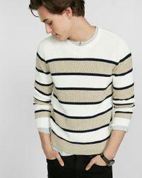 Express | White Soft Ivory Marl Stripe Crew Neck Sweater for Men | Lyst