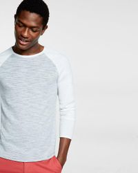 Express | Gray Color Block Crew Neck Sweater for Men | Lyst