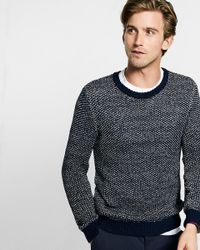 Express | Blue Tape Yarn Crew Neck Sweater for Men | Lyst