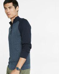 Express | Blue Color Block Half Zip Mock Neck Sweater for Men | Lyst