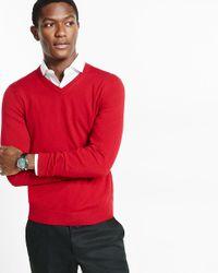 Express   Red Merino Wool V-neck Sweater for Men   Lyst