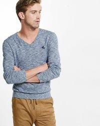 Express | Blue Marled Cotton V-neck Sweater for Men | Lyst