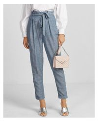 f27bc063f76267 Express High Waisted Linen-blend Paperbag Pant in Blue - Lyst