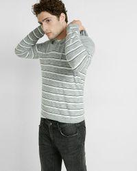 Express | Gray Bar Stripe V Neck Hooded Sweater for Men | Lyst