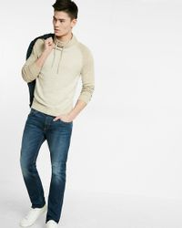 Express | Natural Jacquard Funnel Neck Sweater for Men | Lyst