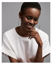 Express - Metallic Interlock Hoop Earrings - Lyst