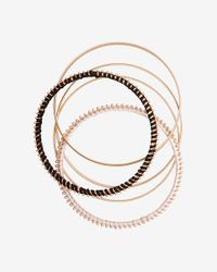 Express | Metallic Set Of 5 Wrapped And Textured Bangles | Lyst