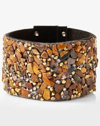 Express - Brown Gem And Stone Encrusted Turnlock Cuff Bracelet - Lyst