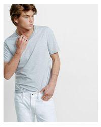 Express - Gray Big & Tall Space Dyed Slub Knit Flex Stretch V-neck Tee for Men - Lyst