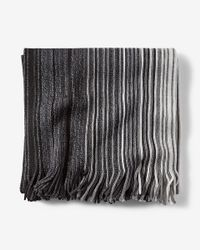 Express | Black Fringed Ombre Stripe Merino Wool Scarf for Men | Lyst