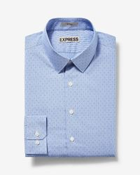 Express | Blue Fitted Micro Dot Print Dress Shirt for Men | Lyst