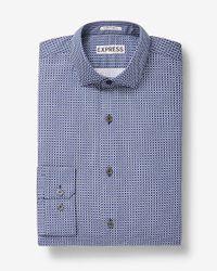 Express   Blue Slim Fit Square Print Cotton Dress Shirt for Men   Lyst