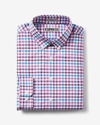 Express | Red Fitted Plaid Easy Care Button Down Collar Dress Shirt for Men | Lyst