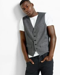 Express - Gray Heathered Flap Pocket Suit Vest for Men - Lyst
