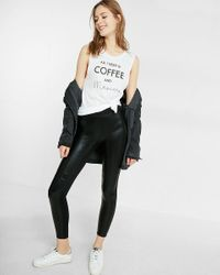 Express - Black Mid Rise Shiny Moto Legging - Lyst