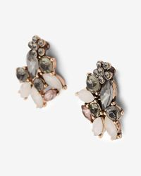 Express - Black Mini Flower Mixed Stone Post Earrings - Lyst