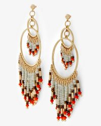 Express | Red Double Circle Drop Bead Fringe Earrings | Lyst
