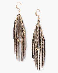 Express | Black Chain Fringe Teardrop Earrings | Lyst