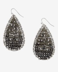 Express - Black Seedbead Teardrop Earrings - Lyst