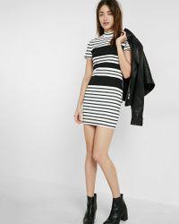 Express   Black Striped Mock Neck Sheath Dress   Lyst