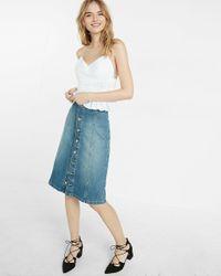 Express | Blue Button Front Denim Midi Skirt | Lyst