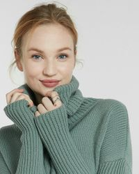 Express | Green Cable Knit Cowl Turtleneck Sweater | Lyst