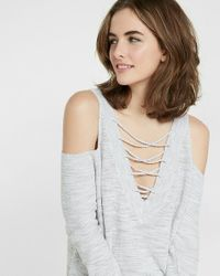 Express | Multicolor Marled Two-way Lace-up Tunic Sweater | Lyst
