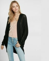 Express | Black Textured Stitch Hooded Cocoon Cover-up | Lyst
