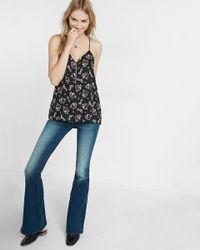 Express | Multicolor Floral Print Zip Front Barcelona Cami | Lyst