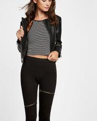 Express | Black High Waisted Ponte Knit Slash Zip Moto Legging | Lyst