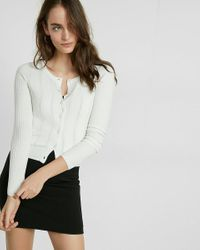 Express | White Petite Ribbed Crew Neck Cardigan | Lyst