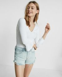 Express | White Double V Ruffle Sleeve Top | Lyst