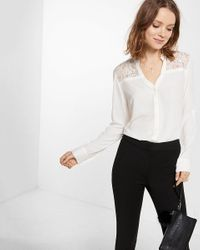 Express | White Collarless Lace Back Shirt | Lyst