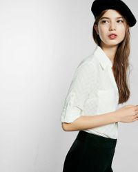 Express | White Original Fit Large Dot Portofino Shirt | Lyst