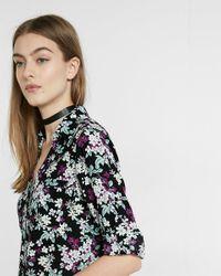 Express Black Slim Fit Floral Bunch Print Portofino Shirt