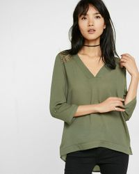 Express | Green Deep V-neck Lace Back Blouse | Lyst