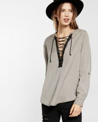 Express | Gray Lace-up Sliky Soft Twill Long-sleeve Shirt | Lyst