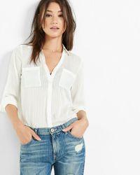 Express   White Slim Fit Sheer Stripe Portofino Shirt   Lyst