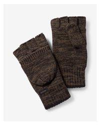 Express - Green Cotton Flip Top Gloves - Lyst