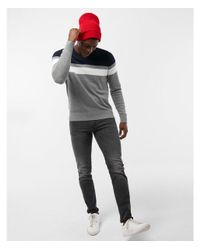 Express - Blue Color Block Stripe V-neck Sweater for Men - Lyst