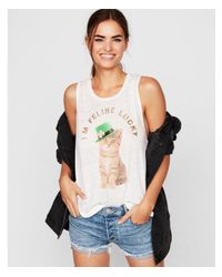 Express - White I'm Feline Lucky Graphic Tank - Lyst