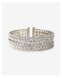 Express - Metallic Bezel Stone Cuff Bracelet - Lyst