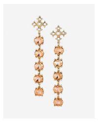 Express - Pink Five Stone Linear Drop Earrings - Lyst