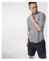 Express | Purple Soft Wash Check Print Cotton Shirt for Men | Lyst