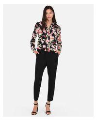 Express - Black Slim Fit Floral Portofino Shirt - Lyst
