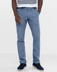 Express   Blue Slim Fit Microprint Chino Pant for Men   Lyst