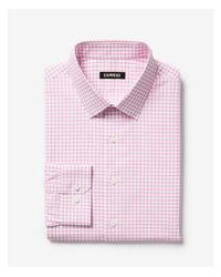 Express - Pink Extra Slim Check Print Cotton Point Collar Dress Shirt for Men - Lyst